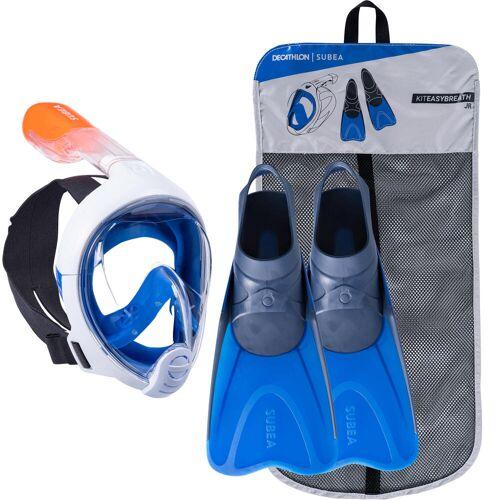 SUBEA Schnorchel-Set Easybreath Maske und Flossen Kinder blau BLAU