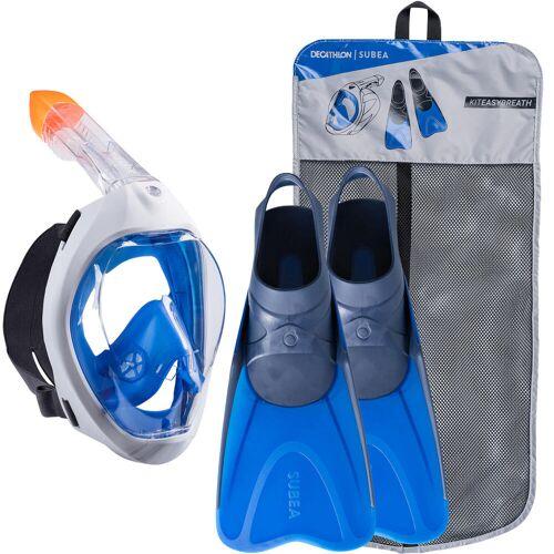 SUBEA Schnorchel-Set Easybreath Maske und Flossen Erwachsene blau BLAU