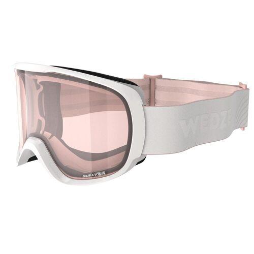 WEDZE Skibrille Snowboardbrille G 500 S1 Schlechtwetter Damen/Mädchen weiss ROSA/WEIß