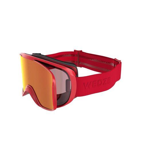WEDZE Skibrille Snowboardbrille G 500 I Allwetter Erwachsene/Kinder Rot ROT