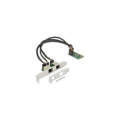 Delock miniPCIe I/O LAN 2x Slotblech, LAN-Adapter