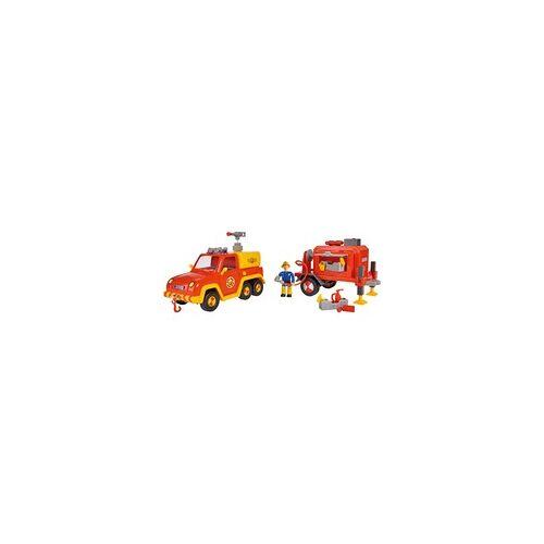 Simba Feuerwehrmann Sam Venus mit Anhänger und Figur, Spielfahrzeug