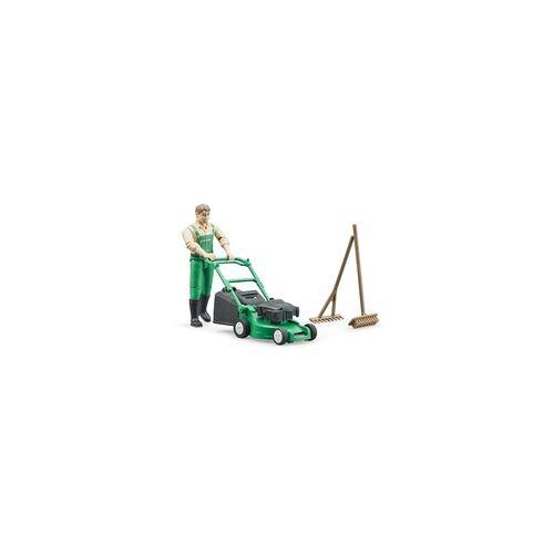 Bruder bworld Gärtner mit Rasenmäher, Spielfigur