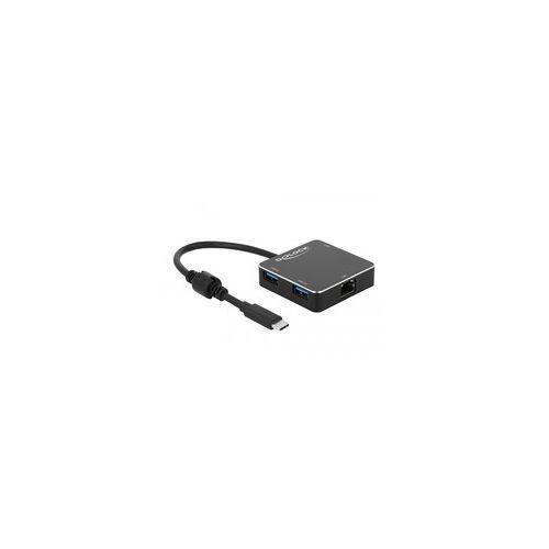 Delock 3 Port USB 3.1 Gen 1 Hub mit USB Type-C + Gigabit LAN, USB-Hub
