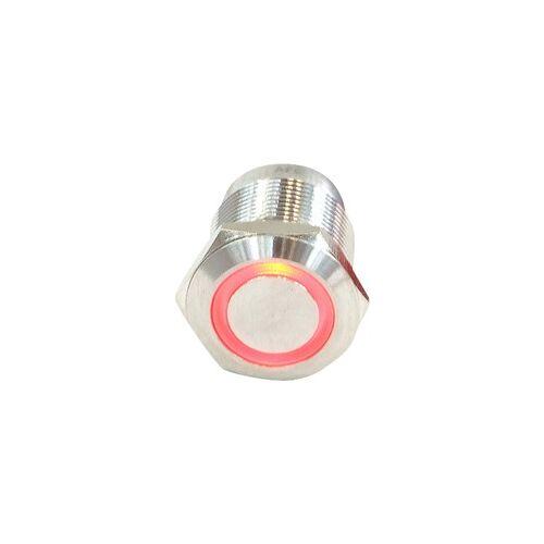 Phobya Klingeltaster 19 mm Edelstahl, rot beleuchtet