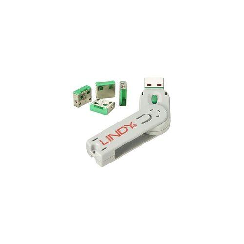 Lindy USB Port Schloss (4 Stück) mit Schlüssel, Diebstahlschutz