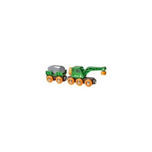 BRIO World Grüner Kranwagen mit Anhänger, Bahn