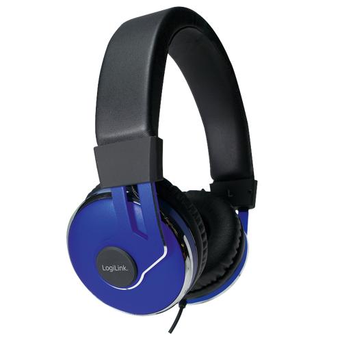 Logilink On-Ear Stereo Headset mit extra weichen Polstern, Blau