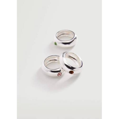 MANGO Set mit Kristallstein-Ringen Silber