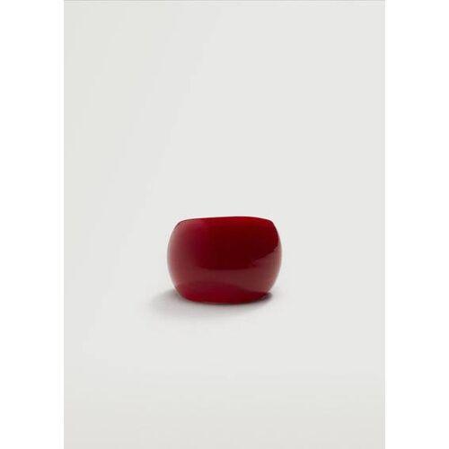 MANGO Großer Kristall-Ring Rot