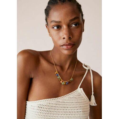 MANGO Halskette mit Kristallanhängern Gold