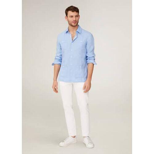 MANGO MAN Leinenhemd im guayabera-stil