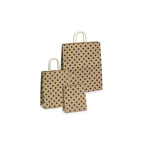 Kraftpapier-Tragetaschen mit Punkten, 230 x 120 x 300 mm