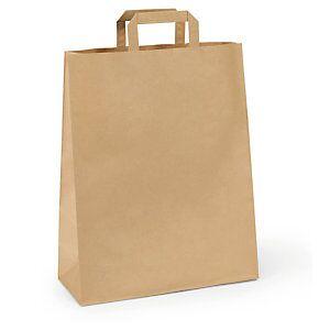 Braun Papiertasche mit Flachhenkel  - braun -  27x36x12 cm - 1-farbiger Druck: vorne / hinten
