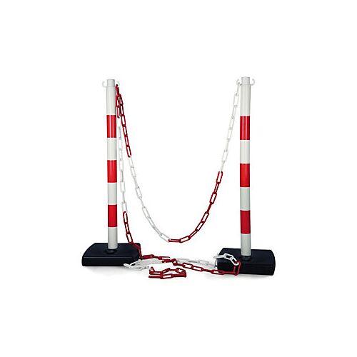 Absperrpfosten PVC mit Kette 2 PVC Pfosten + 5 m Kette rot/weiß