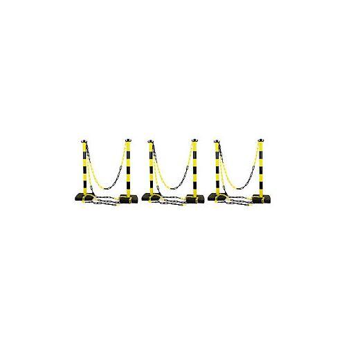 Absperrpfosten PVC mit Kette 6 PVC Pfosten + 12 m Kette gelb/schwarz