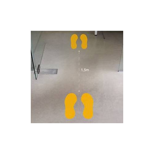 Aufkleber gelbe Fußabdrücke 330 x 350 mm