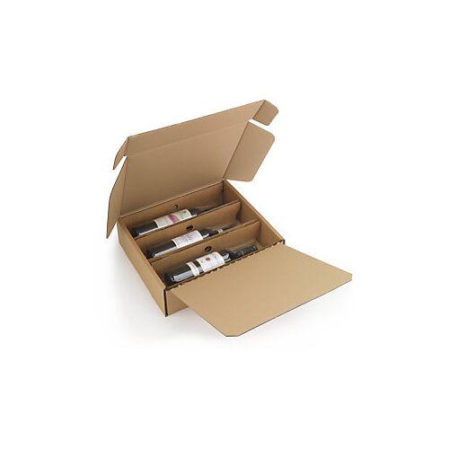 Flaschenverpackung mit Folienfixierung 3 Flaschen