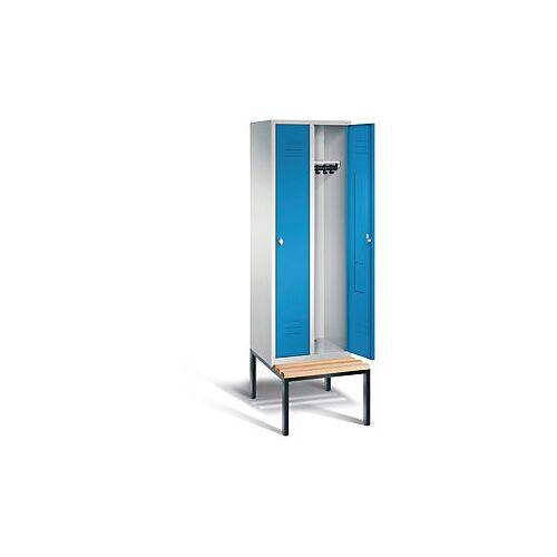 Garderobenschrank mit Bank 2-türig mit Drehschloss blau
