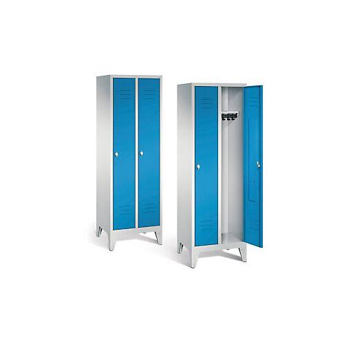 Garderobenschrank mit Füßen in blau, Drehschloss, 2 Türen