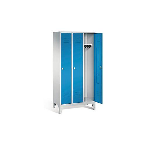 Garderobenschrank mit Füßen in blau, Drehschloss, 3 Türen
