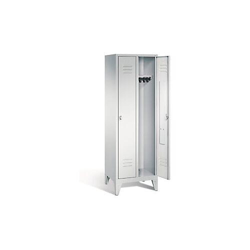Garderobenschrank mit Füßen in grau, Drehschloss, 2 Türen