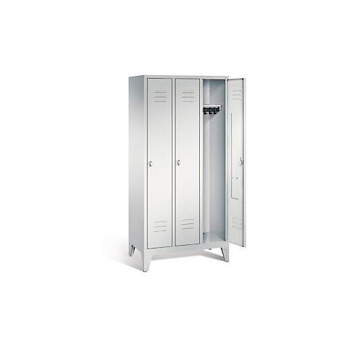 Garderobenschrank mit Füßen in grau, Drehschloss, 3 Türen