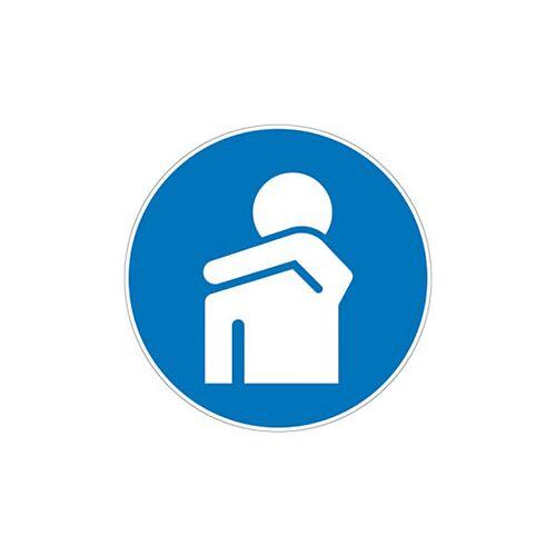 Gebotszeichen in Armbeuge husten