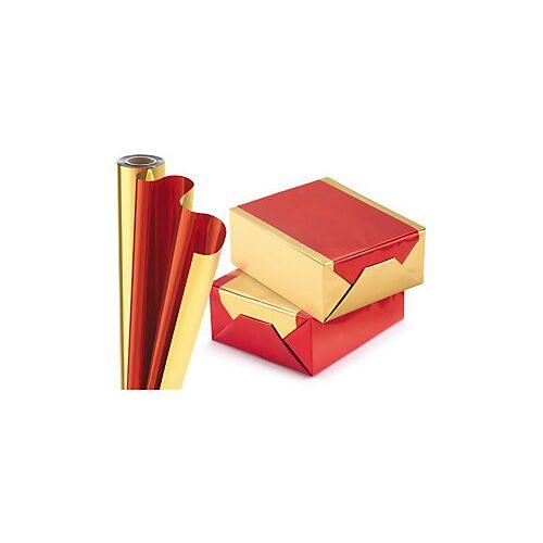 Geschenkfolie in Metalloptik rot/gold