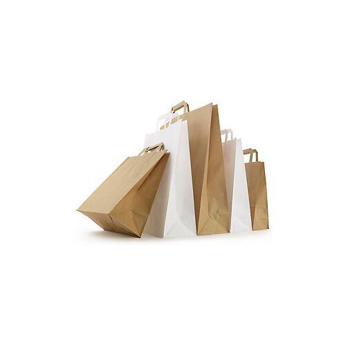 Weiße Papier-Tragetaschen mit Papierhenkel RAJA 180 x 90 x 290 mm