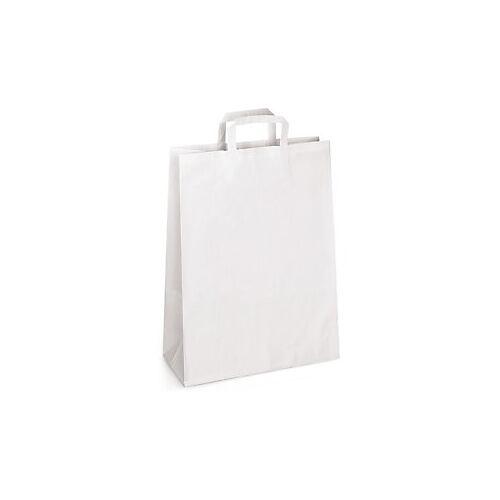 Weiße Papier-Tragetaschen mit Papierhenkel RAJA 220 x 100 x 280 mm