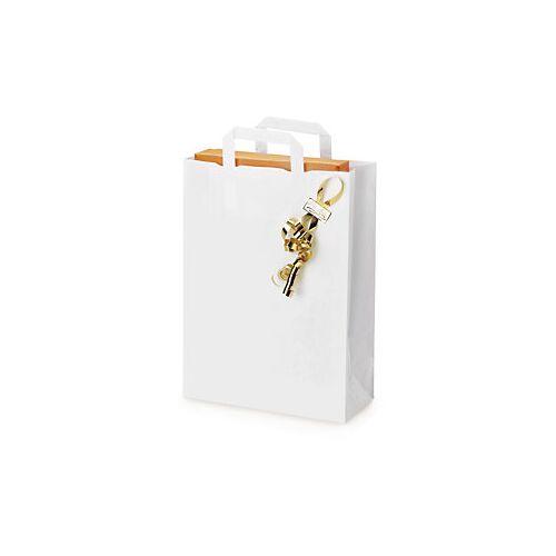 Weiße Papier-Tragetaschen mit Papierhenkel RAJA 260 x 120 350 mm
