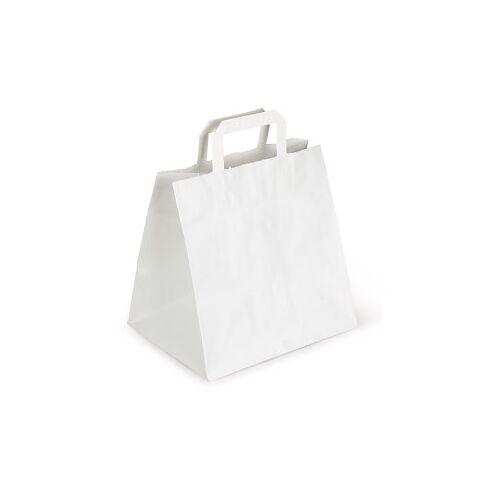 Weiße Papier-Tragetaschen mit Papierhenkel RAJA 260 x 200 x 260 mm