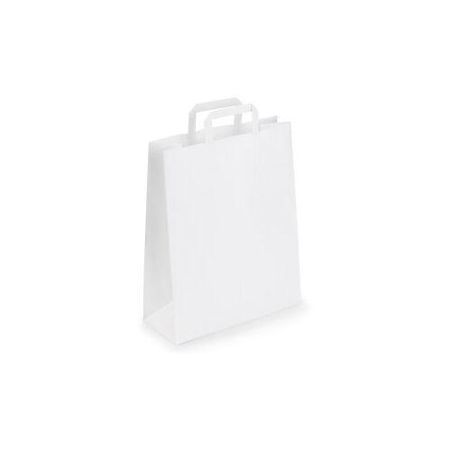 Weiße Papier-Tragetaschen mit Papierhenkel RAJA 320 x 120 x 400 mm