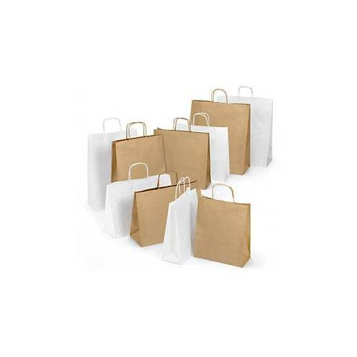 Weiße und braune Papier-Tragetaschen mit Papierkordel RAJA