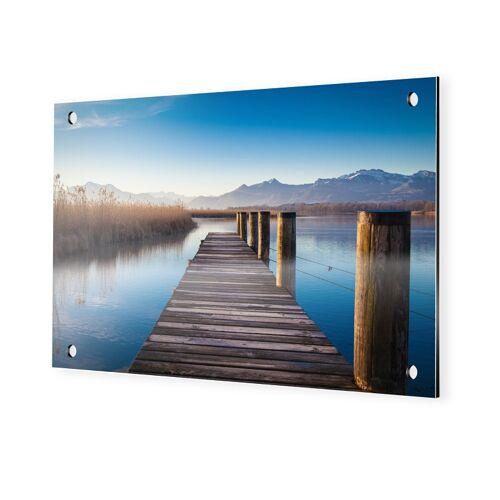 myposter Steg mit Bergen Alu Dibond im Format 90 x 60 cm