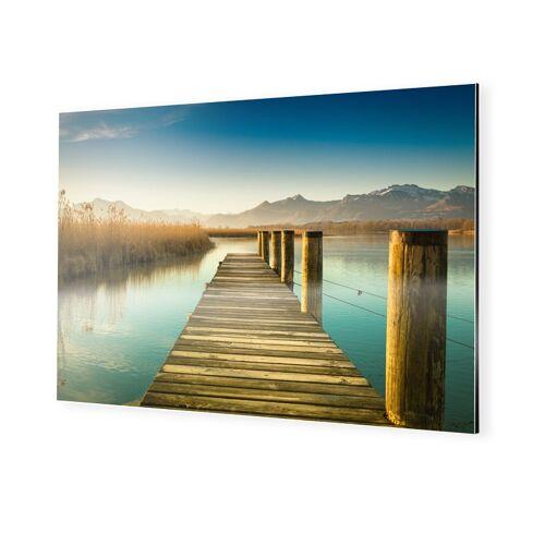 myposter Steg mit Bergen Alu Dibond im Format 120 x 80 cm