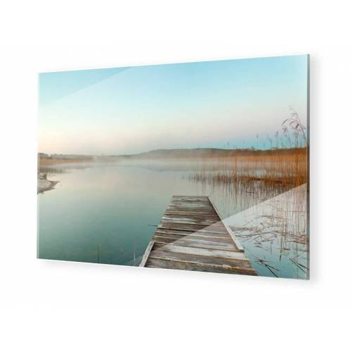 myposter Sonnenuntergang am Steg Foto auf Glas im Format 80 x 45 cm