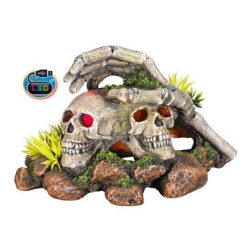 Nobby LED Totenkopf mit Pflanzen, 16,2 x 12,2 x 9,8 cm