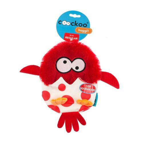 Coockoo Huggl Hundespielzeug mit 10 Quietschern, Rot, 24 x 18 cm
