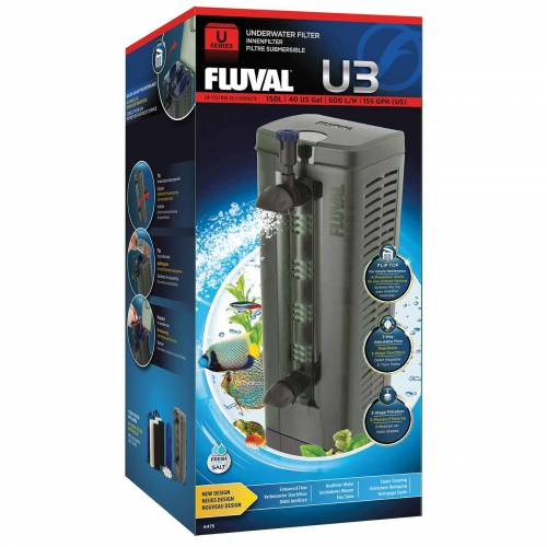 Fluval Aquarium Innenfilter U Serie, U3 90-150 l, 9,6 x 26,5 x 8,0 cm