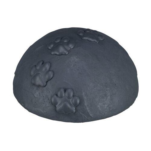 TRIXIE Gedenkstein für Hunde Gedenkkuppel mit Pfoten, ø 15 × 8 cm, grau 38413