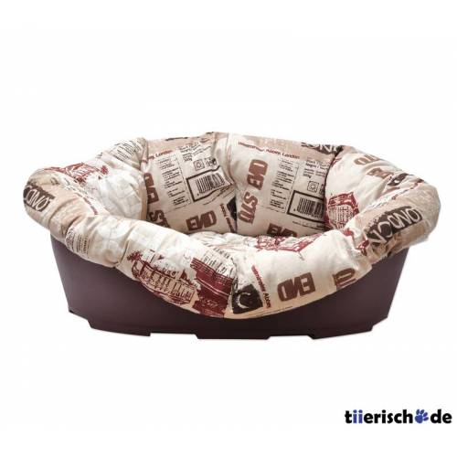 Aumüller Hundekorb Überzug London, 70 x 50 x 28 cm, beige/dunkelbraun, ohne Korb