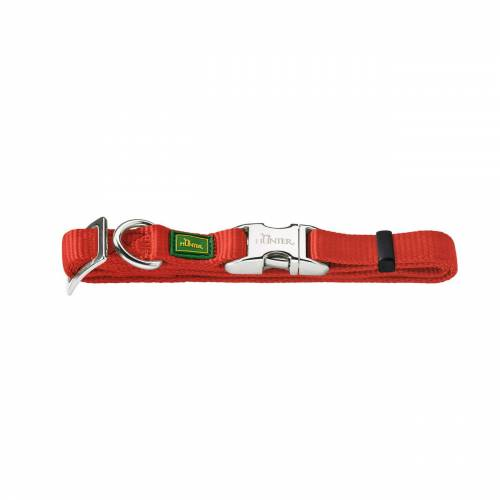 Hunter Halsband Vario Basic Alu Strong Verschluss, M: 40-55 cm, 2,0 cm breit, rot 43515
