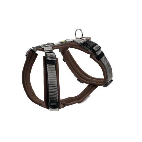 Hunter Hundegeschirr Maldon gepolstert, Gr. XS: Hals 31 - 49 cm   Bauch 34 - 49 cm   Breite 1,5 cm, braun/grau 67503