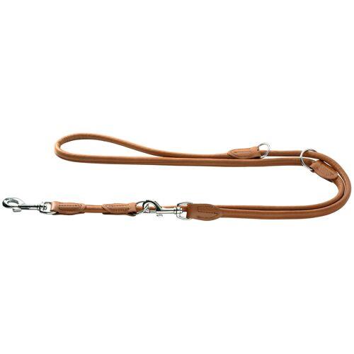 Hunter Hundeleine aus Elchleder Round & Soft, 1 m lang, 10mm breit, cognac 41952