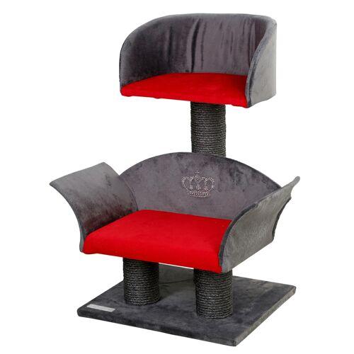 Kerbl Kratzbaum Lounge Deluxe, grau/rot, Höhe: 70cm