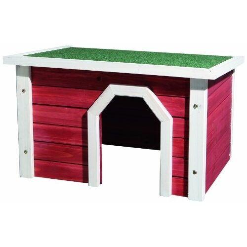TRIXIE Kleintierhaus aus Holz rot weiß, 50 × 30 × 37 cm, rot/weiß 62396