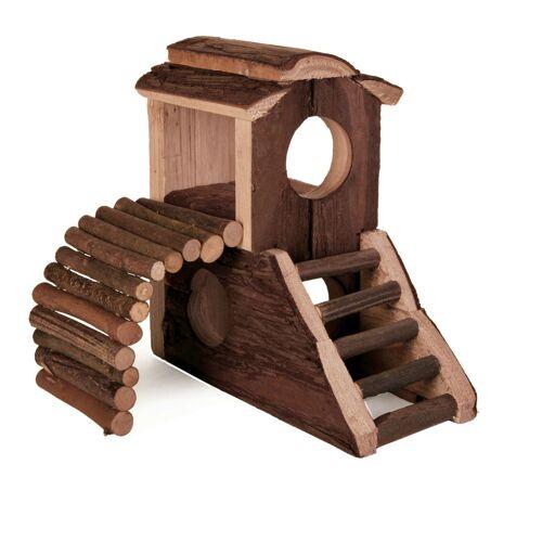 TRIXIE Nager Spielburg Mats aus Holz, 17,5 x 10,5 x 14,5 cm 6113