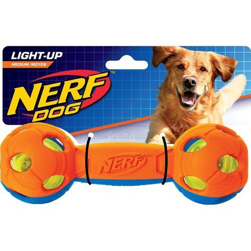 NERF Dog lluma-Action LED für Hunde, Hantel Gr. M, orange/blau,  Ø 6 cm